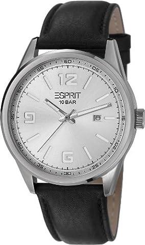 Esprit - ES106341002 - Menlo - Montre Homme - Quartz Analogique - Cadran Argent - Bracelet Cuir Noir
