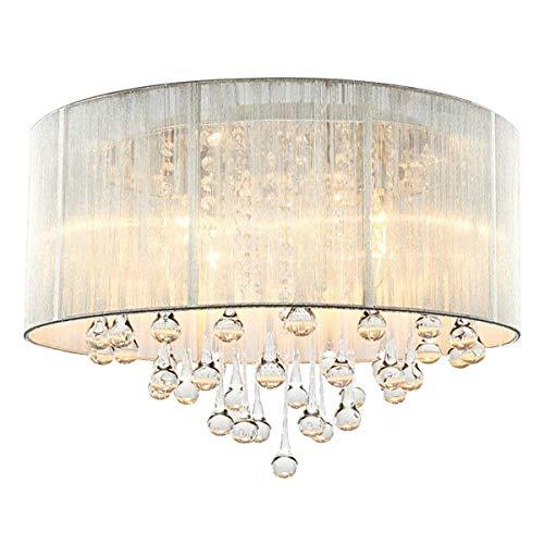CARYS Kronleuchter Kristall Deckenleuchte Rund Deckenlampe Wohnzimmer Lüster Schlafzimmer Stoff Lampe Lampenschirm Schwarz Kristall - 4 x E14 Leuchtmittel