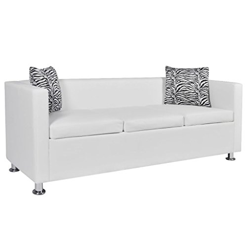 vidaXL Sofá blanco de cuero artificial, 3 plazas bricolaje muebles de casa asiento