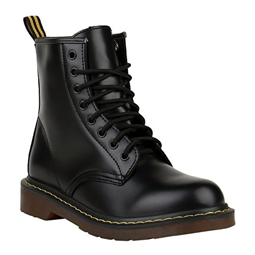 Stiefelparadies Unisex Damen Herren Stiefeletten Worker Boots Profilsohle Flandell, Schwarz Brito, 39 EU