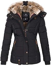 Marikoo warme Damen Winter Jacke Winterjacke Steppjacke gefüttert Kunstfell B658
