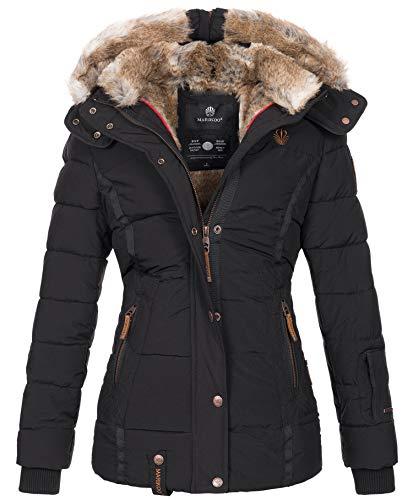 Marikoo warme Damen Winter Jacke Winterjacke Steppjacke gefüttert Kunstfell B658 [B658-Nek-Schwarz-Gr.M]