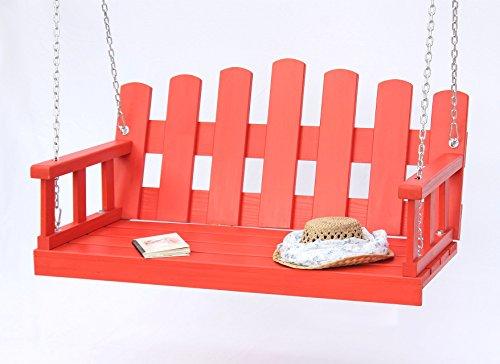 DanDiBo Banc suspendu rouge Balançoire avec chaine et coussin Balançoire de jardin Balancelle