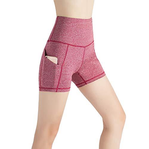 MandH HK Damen Hoher Taille Taschen Yoga Shorts Bauchkontrolle Workout Running 4-Wege Stretch Yoga Shorts - dunkelrot - L (Spandex Capri Womens Pants)