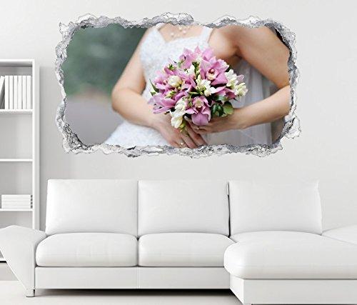 3D Wandtattoo Braut Brautkleid Blumen Freesie rosa Blume Wand Aufkleber Durchbruch Stein Wandbild...