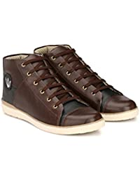 Sneakers Shoes For Mens High Ankle Casual Chocolate-Black By Yoomenz - Sneakers For Men\Sneakers For Boy