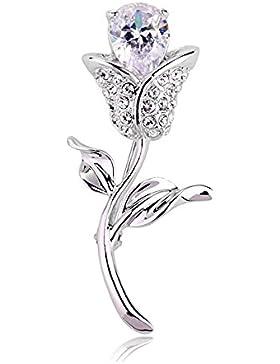 Broche Estilo FZHLYSimple Con El Diamante Del Tulipán De Cristal Para Las Mujeres Elegantes,White