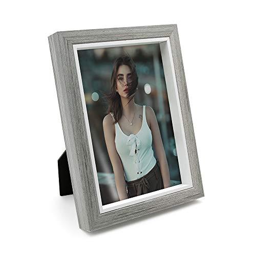 Afuly grau Fotorahmen 13 x 18 Box Bilderrahmen Hochzeit mit weißen Rand für Wand oder Schreibtisch (Rand Mit Bilderrahmen Weißem)