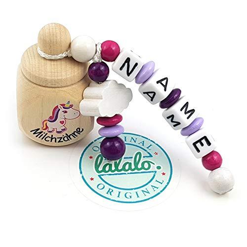 """LALALO Holz Zahndose mit Namen, Taufgeschenk, Zahnbox Milchzähne Box Gravur, Milchzahndose Zahndöschen personalisiert (Aufdruck\""""Milchzähne\"""" + Einhorn, Motivperle Wolke, Pink Lila)"""