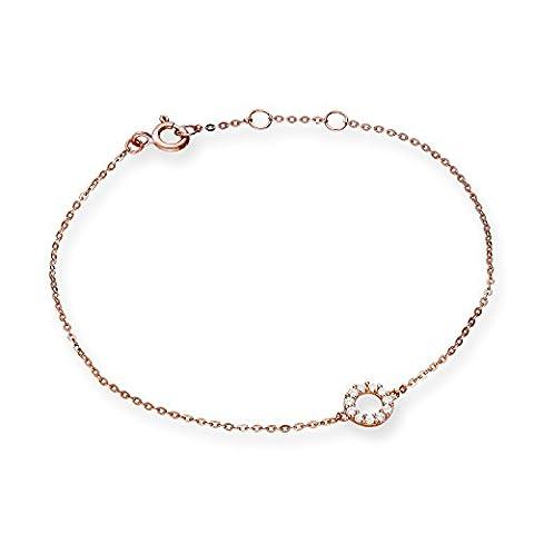 9ct Rose Gold & Clear CZ Crystal 7 Inch Karma Circle Bracelet