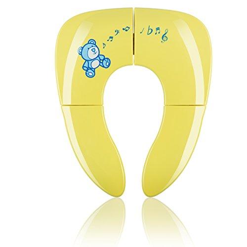 KIDUKU Faltbarer Toilettensitz für Kinder/Baby | tragbarer Reise WC-Sitz | universell passender Kindertoilettensitz | faltbar | inkl. Hygienebeutel (Gelb)