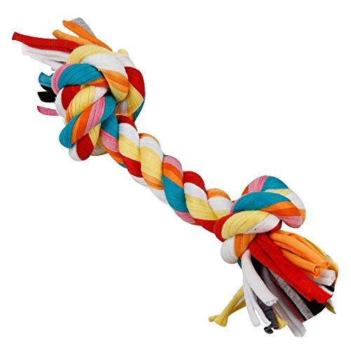 YuGG New Dogloveit Cotton 2-Knot Braie Rope Bone Tug Dog Chewing Toy, Small, 6