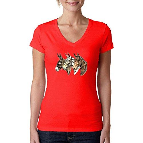 Fun Girlie V-Neck Shirt - Drei Maultier Köpfe by Im-Shirt Rot