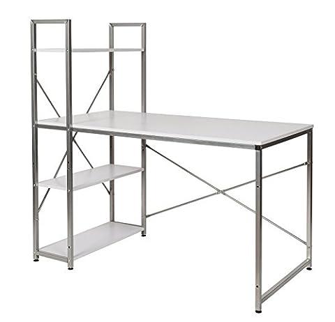 ts-ideen Bureau combinaison table étagère réglable noyer argenté montage à droite gauche variable secrétaire