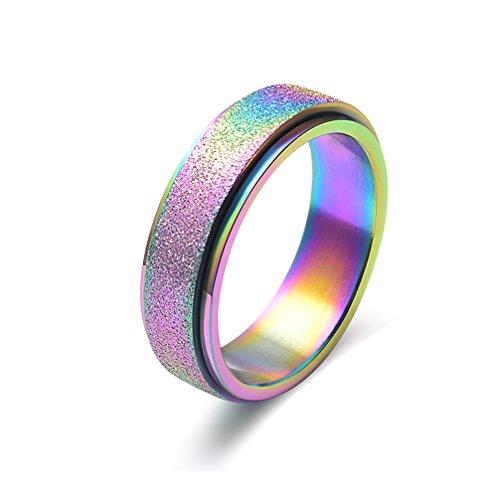 OAKKY Herren Damen Edelstahl Bunter Perlen-Sand-schmuck Ring Regenbogen Größe 65 (20.7)