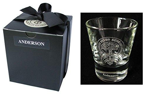 Scottish Clan Crest Gravur Whisky DRAM-/Shot Glas. Groß Auswahl schwarz wählbar., glas, MacArthur, 2.25 oz