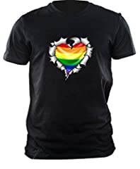 Idea Regalo - Strappato Cuore Di Metallo Modello con LGBT Gay Pride Arcobaleno Bandiera Motivo t-shirt top maglietta by CTD - cotone, Nero, 100% cotone, Uomo, XXL - 119-124cm
