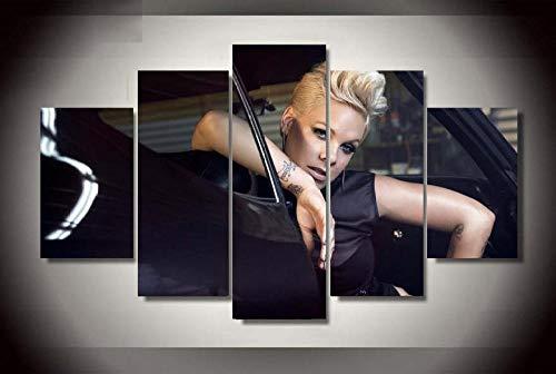 WLHWLH Heißer Modulare Quadros 5 P Sänger Mädchen Rosa Moderne Poster Leinwand Malerei Auf Der Wand Bild Für Wohnzimmer