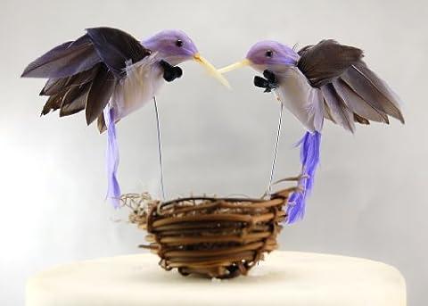 Hummingbird Groom and Groom Cake Topper: Humming Bird Gay Wedding Cake Topprr in Amethyst Violet and Deep Purple by Becky Kazana