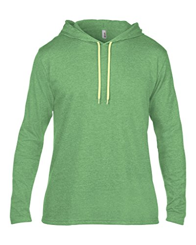 MAKZ Herren Langarmshirt Mehrfarbig - Heather Green/ Neon Yellow