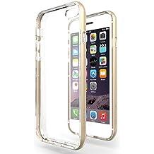 """Funda iPhone 6 / 6s Plus (5.5"""") Azorm Hybrid Edition Oro - Bumper con Efecto Metálico, Transparente, Fina, Antideslizante, Resistente a los arañazos en su parte trasera, Amortigua los golpes [PROTECTOR DE PANTALLA HD, VIENE CON PAÑO LIMPIADOR DE MICROFIBRA] Funda protectora anti-golpes para Apple iPhone 6 Plus, iPhone 6s Plus"""