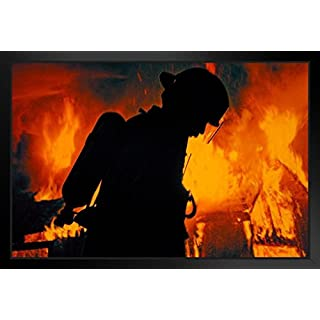 A Firefighter in Airpack Silhouetted by Flames at Night Photo Art Print Framed Poster 20x14 inch
