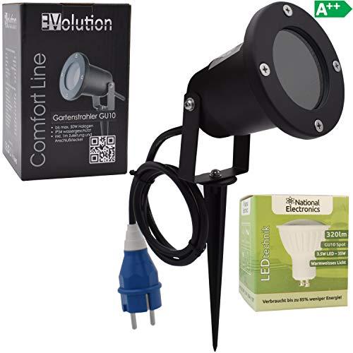 Evolution LED Strahler 3,5W mit Erdspieß | mit Kabel und Stecker LED Garten-lampe 230V | IP54 inkl. GU10 LED Gartenstrahler Strom Anschlußkabel stehend LED Außenleuchte für Steckdose