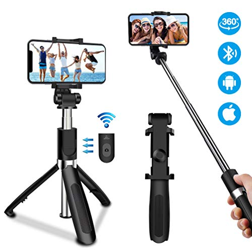 Oladwolf Bluetooth Selfie Stick Stativ, 3 in 1 ausziehbares Mini Pocket Monopod 360° -Drehung mit drahtloser Fernbedienung für iPhone, Samsung, Huawei und andere 3,5-6-Zoll-Bildschirm-Smartphones