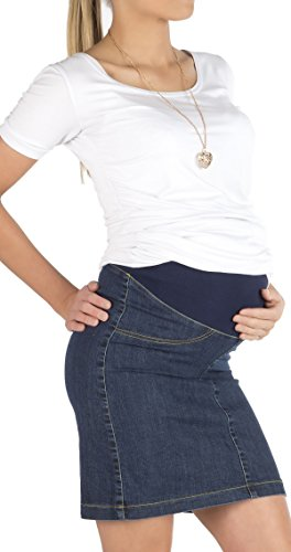 Umstandsrock Rock Jeansrock Jeans Knielang Umstand Stretch Schwanger Bauch jeans-blau 40 (Stretch-baumwolle-bleistift-rock)