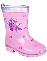 PERLETTI Botas de Agua Niña Unicornio - Botines Infantiles Impermeables de Moda Rosa Estampados Estrellitas - Suela Antideslizante y Ribete Plateado Iridiscente - 5 Tallas Cool Kids