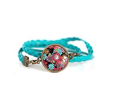 Bracelet double tresse turquoise, Cabochon fleuri, rouge et turquoise, fleurs, floral