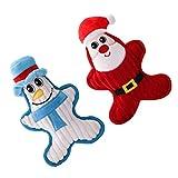 Gadpiparty 2 Stks Hond Piepende Speelgoed Kerst Santa Sneeuwpop Pop Hond Kauwen Sleepboot Halen Speelgoed Huisdier Interactief Speelgoed Voor Puppy Hond Kat