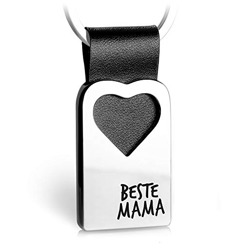 Herz Schlüsselanhänger mit Gravur aus Leder - Mama Geschenk Anhänger für Muttertag und Geburtstag - Beste Mama - FABACH® (Mamas Geburtstag Schmuck)