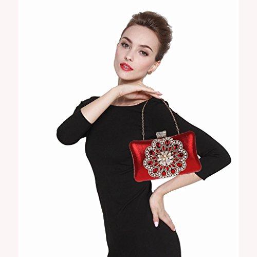 Borsa da donna frizione nuovo modo del vestito da sera di banchetto del sacchetto di diamante fiore in rilievo vestito HASP ( Colore : Silver ) Rosso