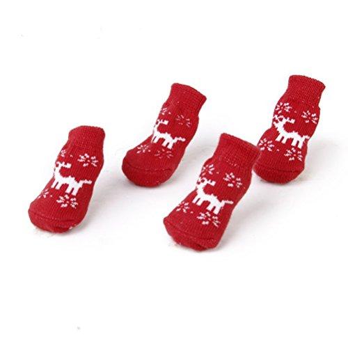 UEETEK 4pcs calcetines antideslizantes del gato del perrito del estilo del reno de la Navidad con impresiones de la pata - para el perro pequeño