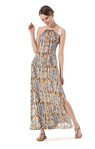 ACVIP Donna Vestito Lungo Spiaggia Stile Cordoncino,2 Colori Giallo