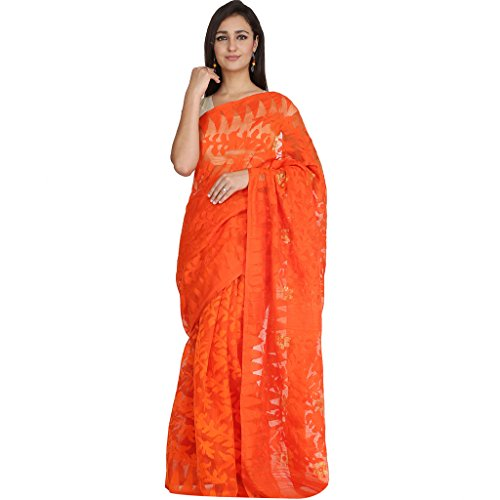 Tanya Orange Hand Woven Bengal Pure Cotton Dhakai Jamdani Saree