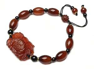 Bouddha rouge Bracelet Amulette de Lotus de coeur de mode, symbole Lotus 30 x 22 x 7 mm, 6-9 pouces, 12x8mm foncé cornaline perles rouges - Fortune Feng Shui Bijoux