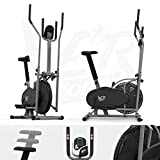 We R Sports Deluxe 2-IN-1 Cross Trainer & Exercise Bike Fitness Cardio Workout With Seat (Silver)