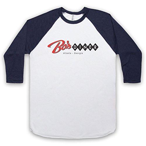 Baby Driver Bo's Diner Atlanta 3/4 Hulse Retro Baseball T-Shirt Weis & Ultramarinblau