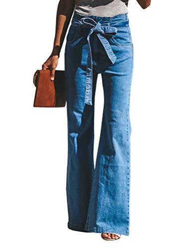Minetom Damen Jeans Stretch Skinny Low Waist Weites Bein Casual Jeanshose Retro Stil Blau Denim Schlagjeans B Blau S Denim Destroyed Low Rise Jeans