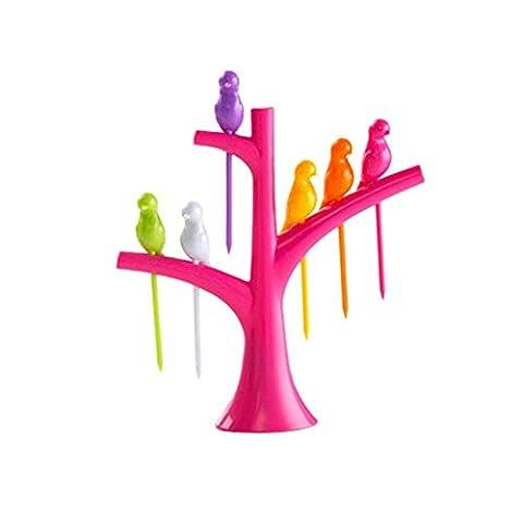 Nopea Satz Lebensmittel Obst Gabel Vogel Plastik Baumstamm Halter Tisch