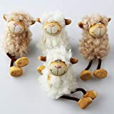 Kamaca 4 er Set Schafe aus Ton Keramik mit Wuschelfell Wollfell und Schlenkerbeinen