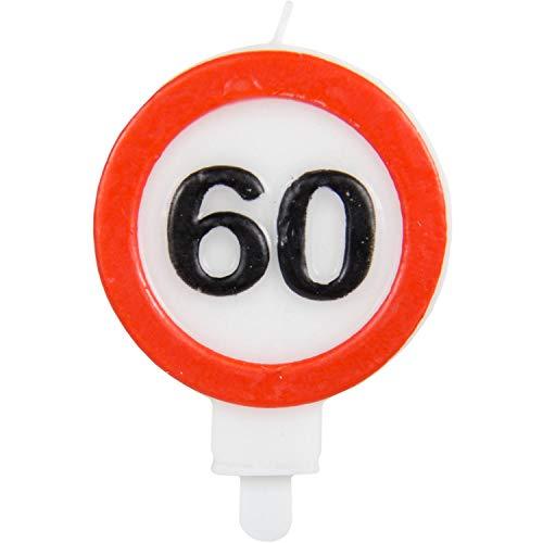 Party Collection - Vela de cumpleaños (60 Unidades, 6 x 8,5 cm), diseño de señal de tráfico