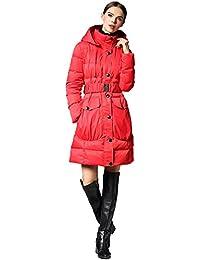 Queenshiny Long slim Women's Down Coat duck down filling winter jacket uk size from 8--14 black hooded skirt shape belt