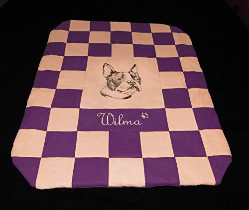Beige Boston Bag (LunaChild Hundedecke Boston Terrier 2 violett beige Hundebett Sofadecke Größe S M L oder XL in 14 Farben erhältlich)