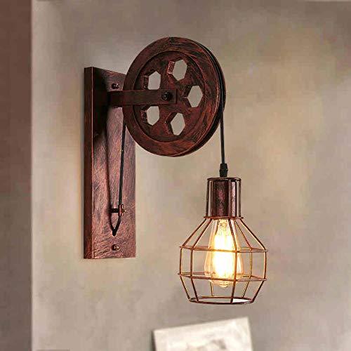 GHL Retro Bauernhaus Riemenscheibe Wandleuchte Industrieller Wind Eisenkunst Bedside Wohnzimmer Restaurant Beleuchtung Lampe,A