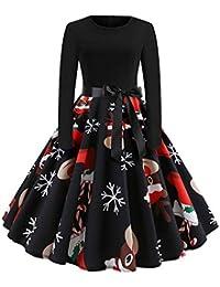 Abito Vintage da Donna LianMengMVP Vestito Abiti di Natale addobbi Natalizi  Partito di Sera Abito a eb58e94d53d