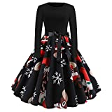 Kltipeng Womens Blouses Women's Vintage Print Long Sleeve Christmas Evening Party Swing Dress(EU-38/CN-L, Schwarz)