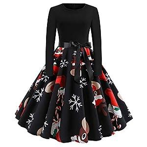 Damen Weihnachten Kleid Vintage Gürtel Langarm Rundhals 3D Elch Drucken Rockabilly Dress A-Line Party Swing Schwarz Falten Mittelkalblänge Kleider